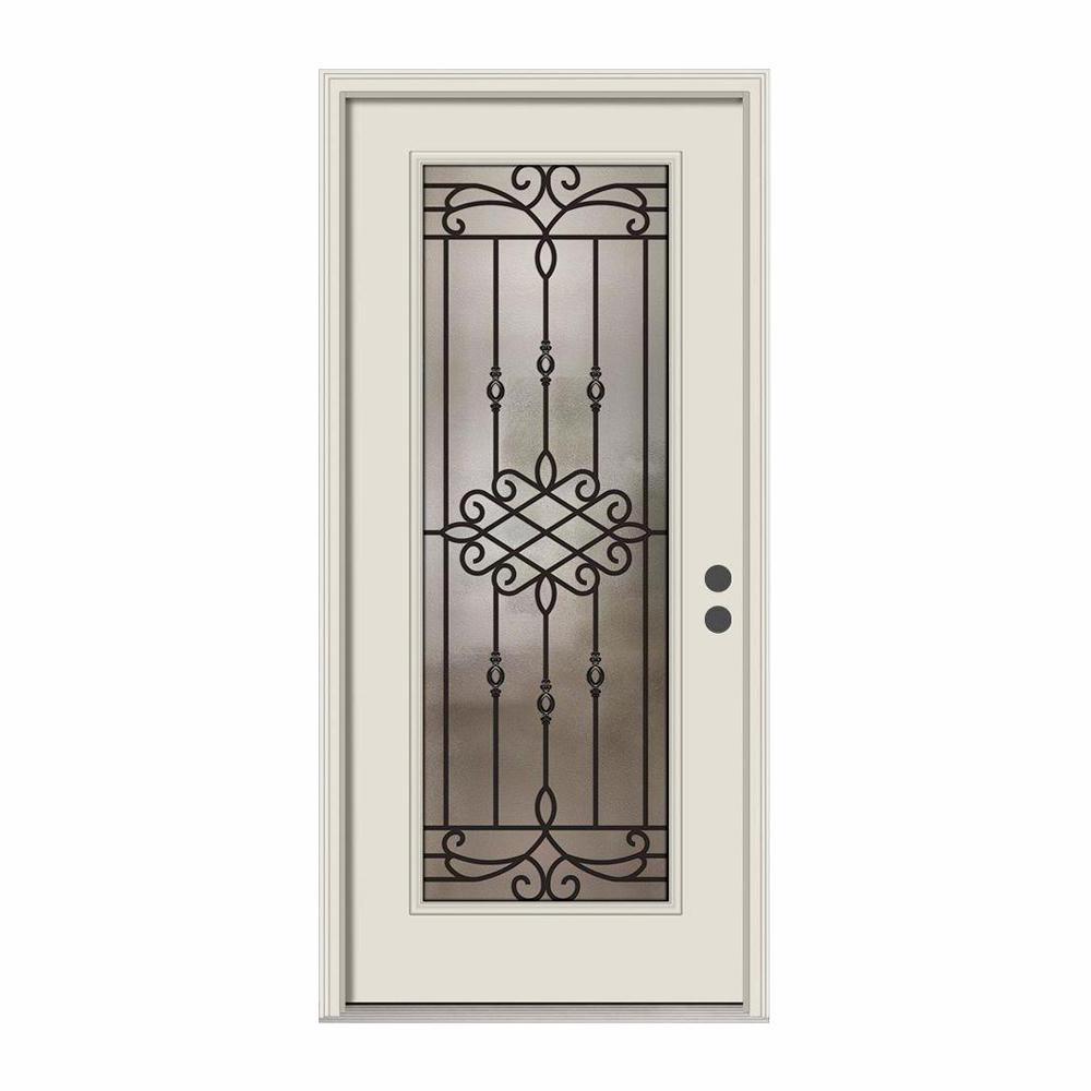 36 in. x 80 in. Full Lite Sanibel Primed Steel Prehung Left-Hand Inswing Front Door w/Brickmould