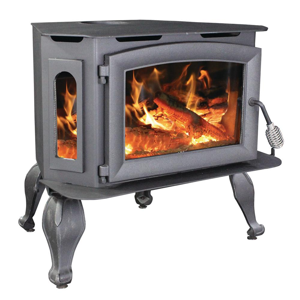 Vogelzang 1,800 Sq. ft. EPA Certified Wood Stove with Bay Front Glass On Legs with Blower