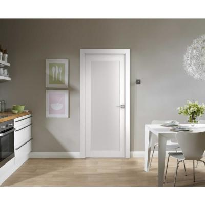 30 in. x 80 in. Smart Pro 207 Polar White Left-Hand Solid Core Wood 1-Lite Frosted Glass Single Prehung Interior Door