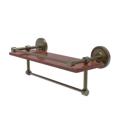 Prestige Regal Collection 16 in. IPE Ironwood Shelf with Gallery Rail and Towel Bar in Antique Brass