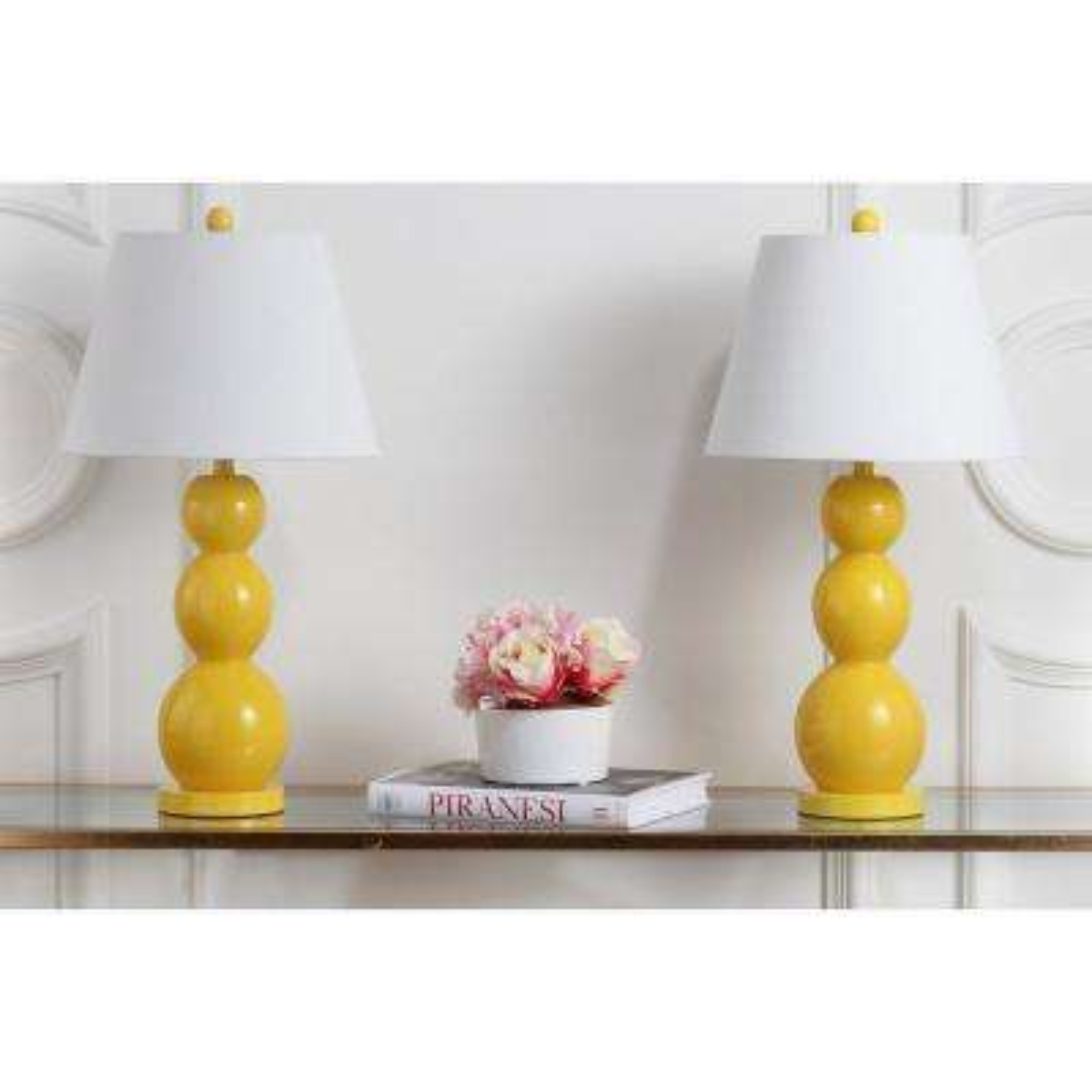Jayne 27.5 in. Yellow Three Sphere Glass Lamp (Set of 2)