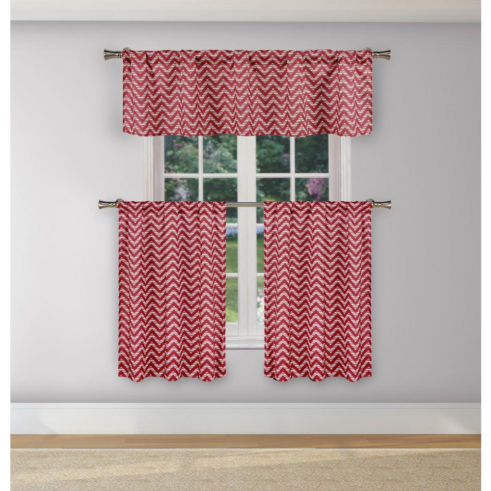 Duck River Ayeris Garnet Room Darkening Kitchen Curtain Set 29 In W X 36 In L 3 Piece