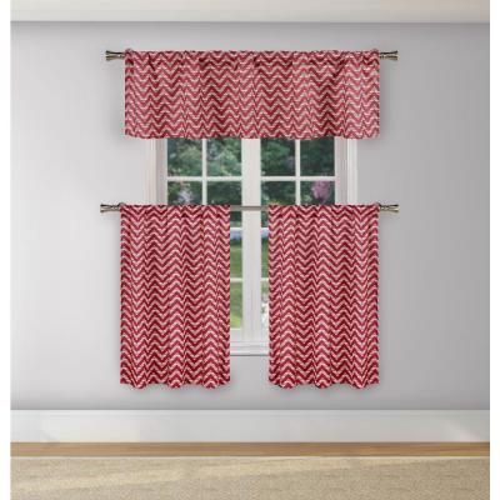 Ayeris Garnet Room Darkening Kitchen Curtain Set - 29 in. W x 36 in. L (3-Piece)