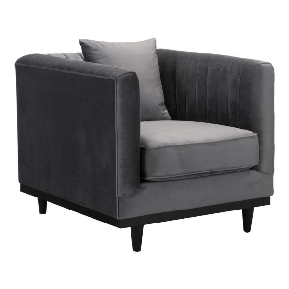 ZUO Garland Gray Velvet Arm Chair