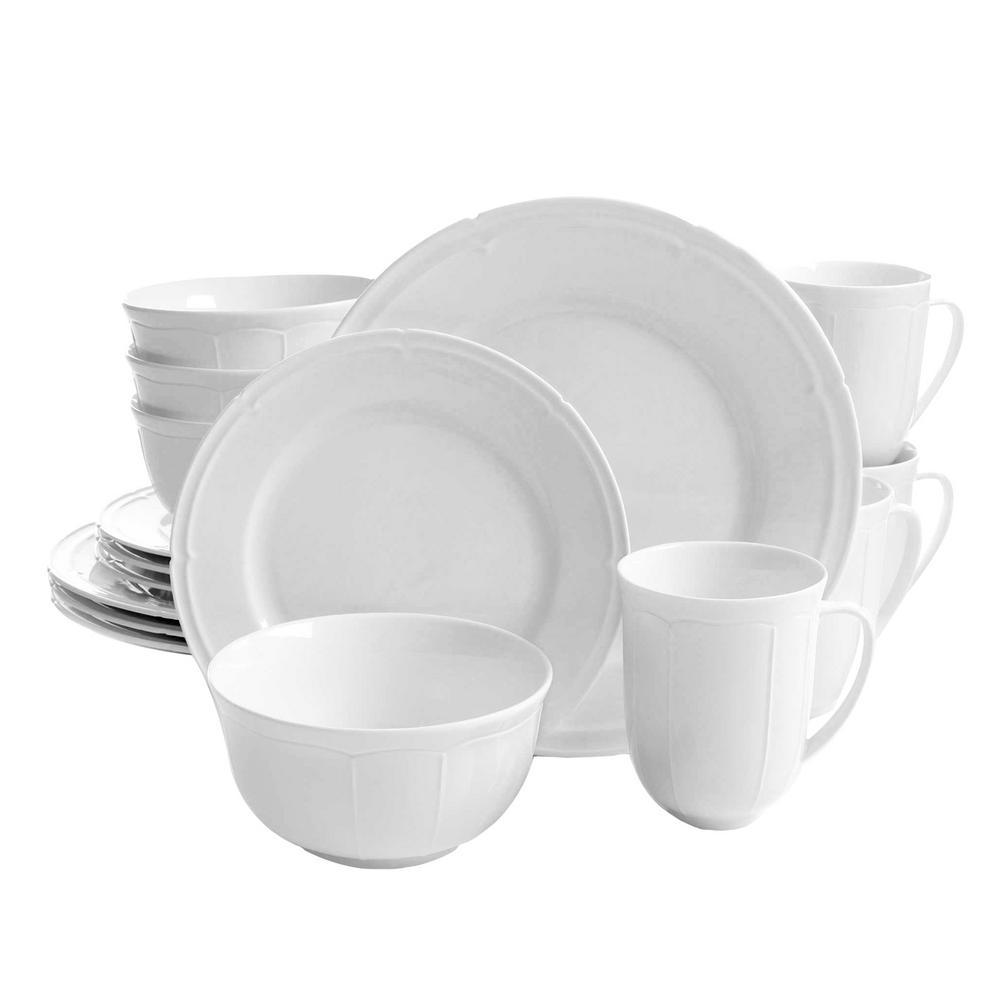 Paton 16-Piece White Dinnerware Set