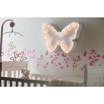 Indoor and Outdoor White Powder-coated Steel Butterfly Plug-in Marquee Light Lighted Sign