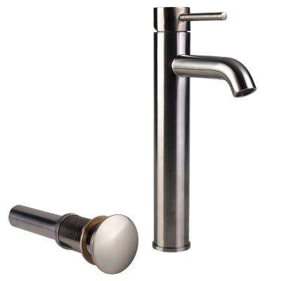 Single Hole Single-Handle High-Arc Vessel Bathroom Faucet with Drain in Brushed Nickel