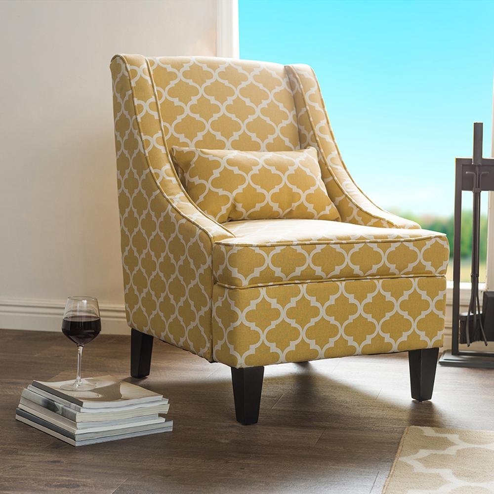Baxton Studio Lotus Contemporary Yellow Fabric Upholstered Accent Chair