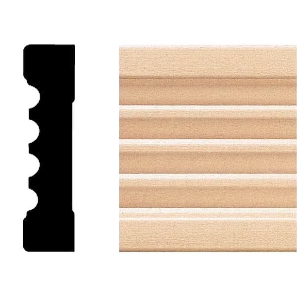 583 - 3/4 in. x 3 in. x 8 ft. Basswood Fluted Casing Moulding