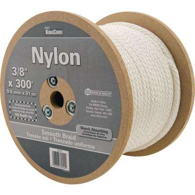 3/8 in. x 300 ft. White Smooth Braid Nylon Rope - 192 lbs Safe Work Load - Reeled