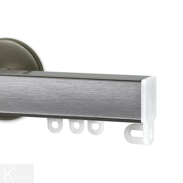 Nexgen 48 in. Non-Adjustable Single Traverse Window Curtain Rod Set in Antique Silver with Stainless Applique