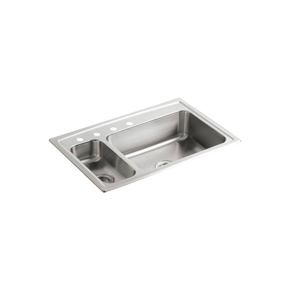 KOHLER Toccata Drop In Stainless Steel 33 In. 4 Hole Double Bowl Kitchen