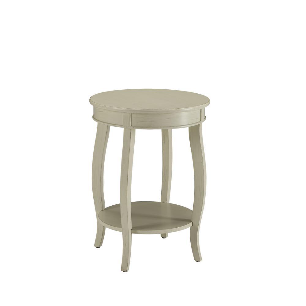 Aberta Antique White Side Table