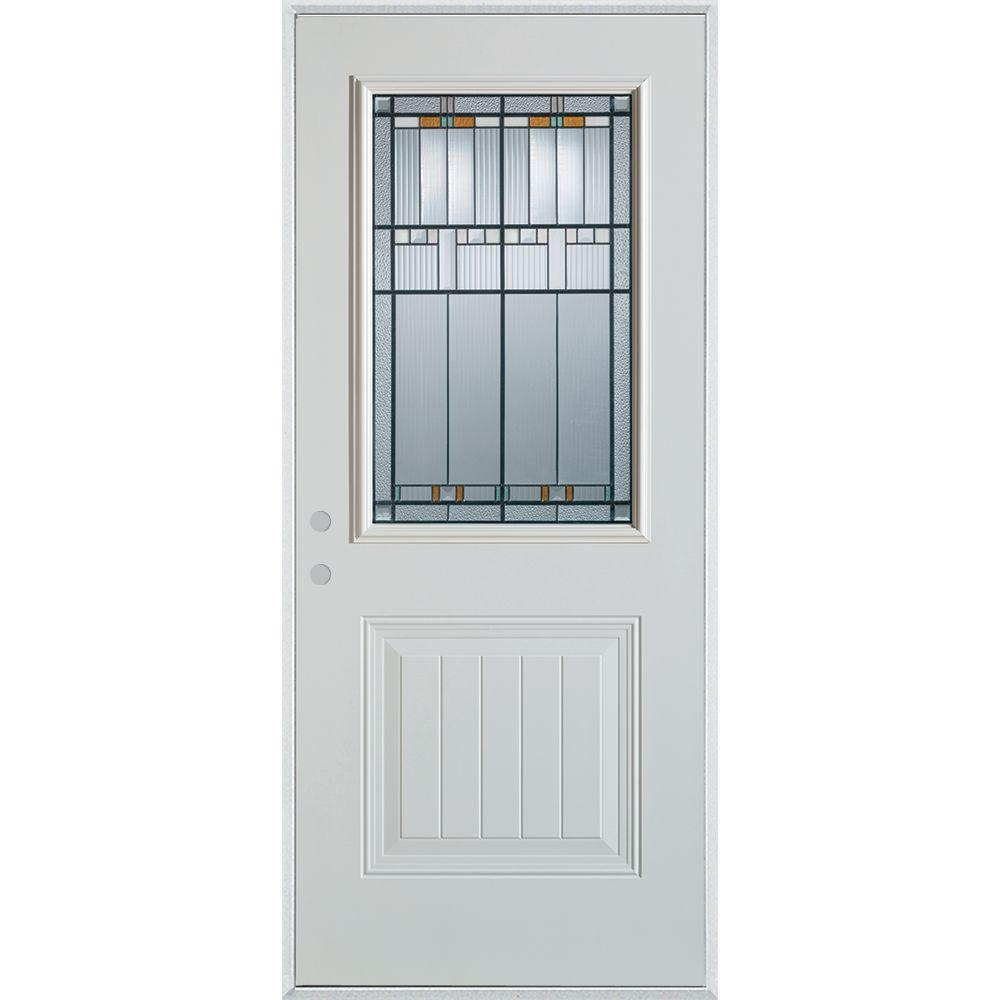 Stanley Doors 33.375 in. x 82.375 in. Architectural 1/2 Lite 1-Panel Painted White Right-Hand Inswing Steel Prehung Front Door