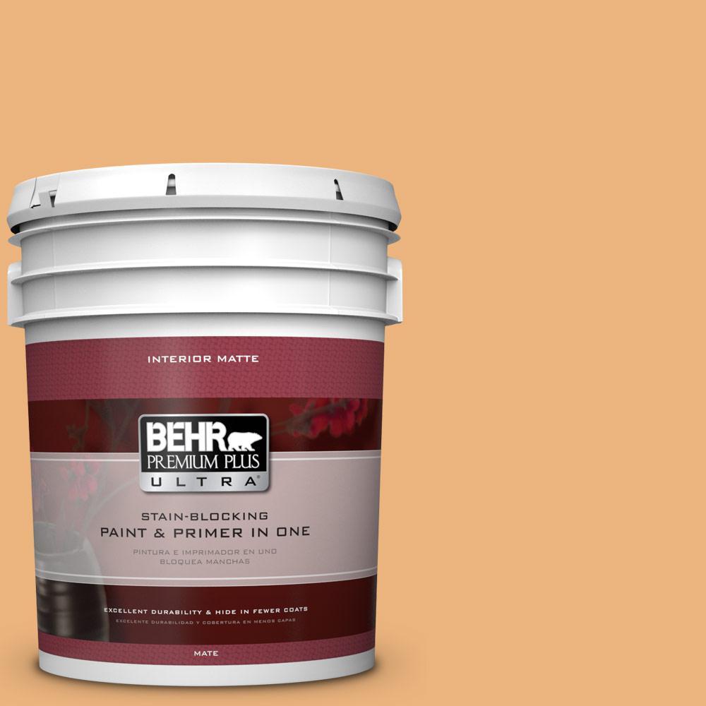 BEHR Premium Plus Ultra 5 gal. #ICC-100 Eastern Amber Flat/Matte Interior Paint