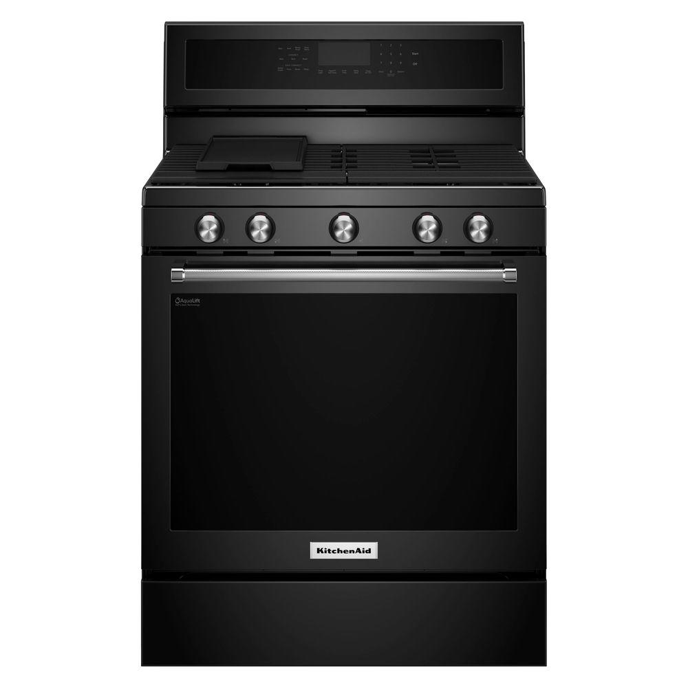 kitchenaid 30 in 5 8 cu ft gas range with self cleaning oven in