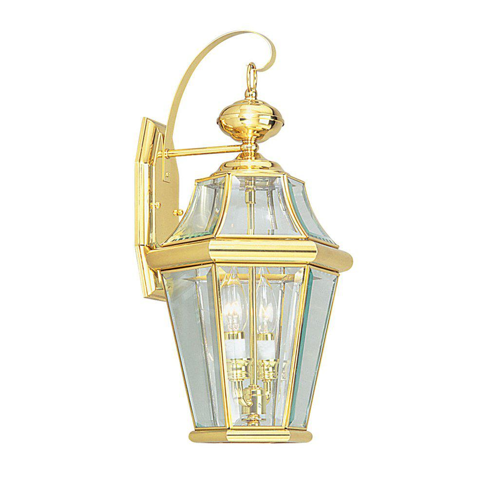 Mansfield 2-Light Polished Brass Outdoor Wall Mount Sconce