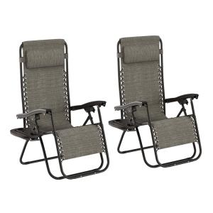Gray Folding Zero Gravity Steel Outdoor Lounge Chairs (2-Pack)