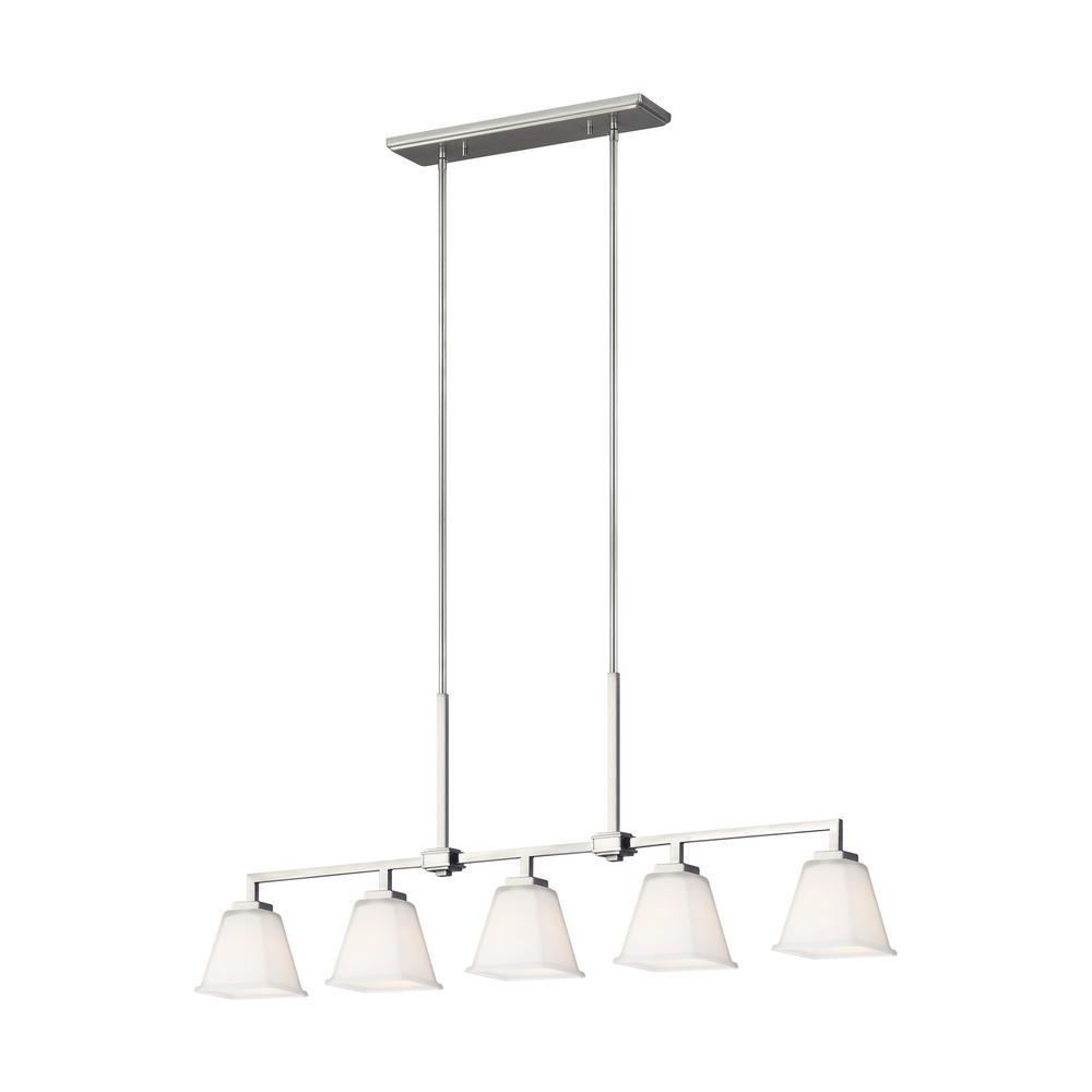 Ellis Harper 5-Light Brushed Nickel Island Pendant with LED Bulbs