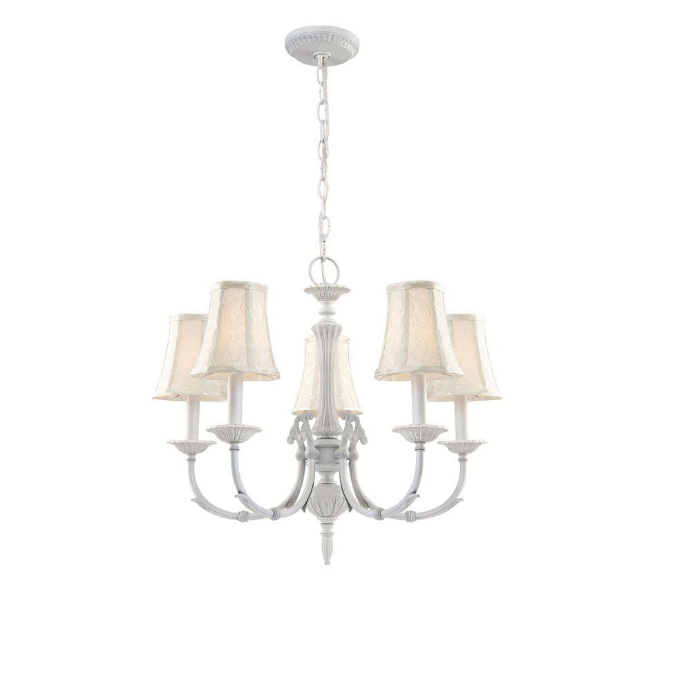 Hampton Bay Laurel Collection 5-Light Weathered White Chandelier