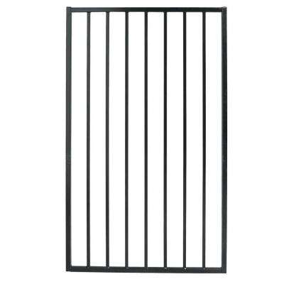 Pro Series 3 ft. W x 5 ft. H Black Steel Fence Gate