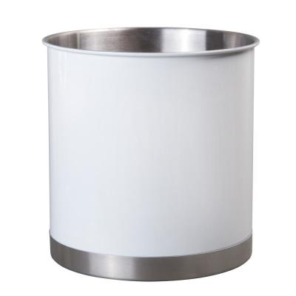 Heavy Gauge White 7 in. Dia. x 7 in. H Large Stainless Steel Tool Crock Cooking Utensil Flatware Holder
