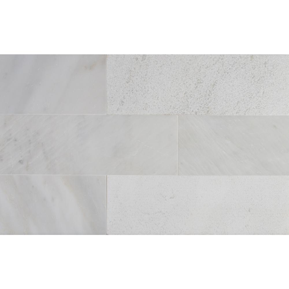 MS International Greecian White 4 in. x 12 in. Multi Finish Marble ...