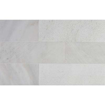 Greecian White 4 in. x 12 in. Multi Finish Marble Floor and Wall Tile (2 sq. ft. / case)