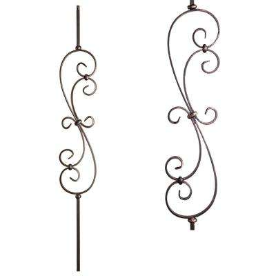 Scrolls 44 in. x 0.5 in. Oil Rubbed Bronze Large Spiral Scroll Solid Wrought Iron Baluster