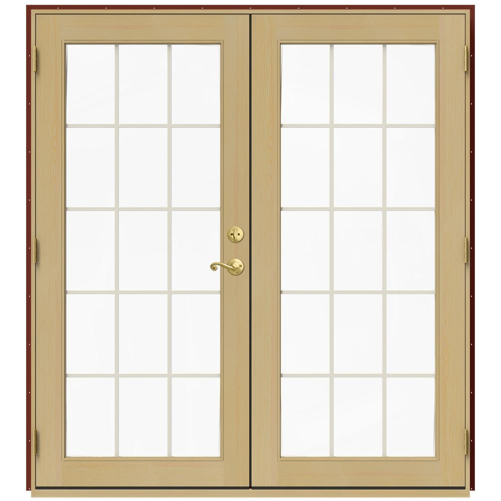 JELD-WEN 72 in. x 80 in. W-2500 Red Clad Wood Right-Hand 15 Lite ...