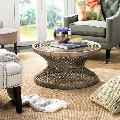 Grimson Large Bowed Gray White Wash Coffee Table