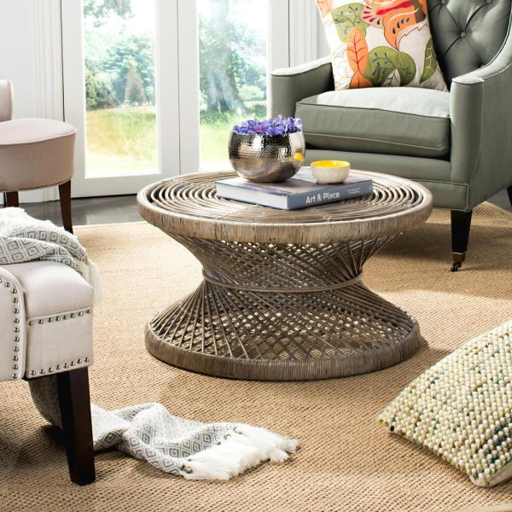 Safavieh Grimson Large Bowed Gray White Wash Coffee Table WIK6507B