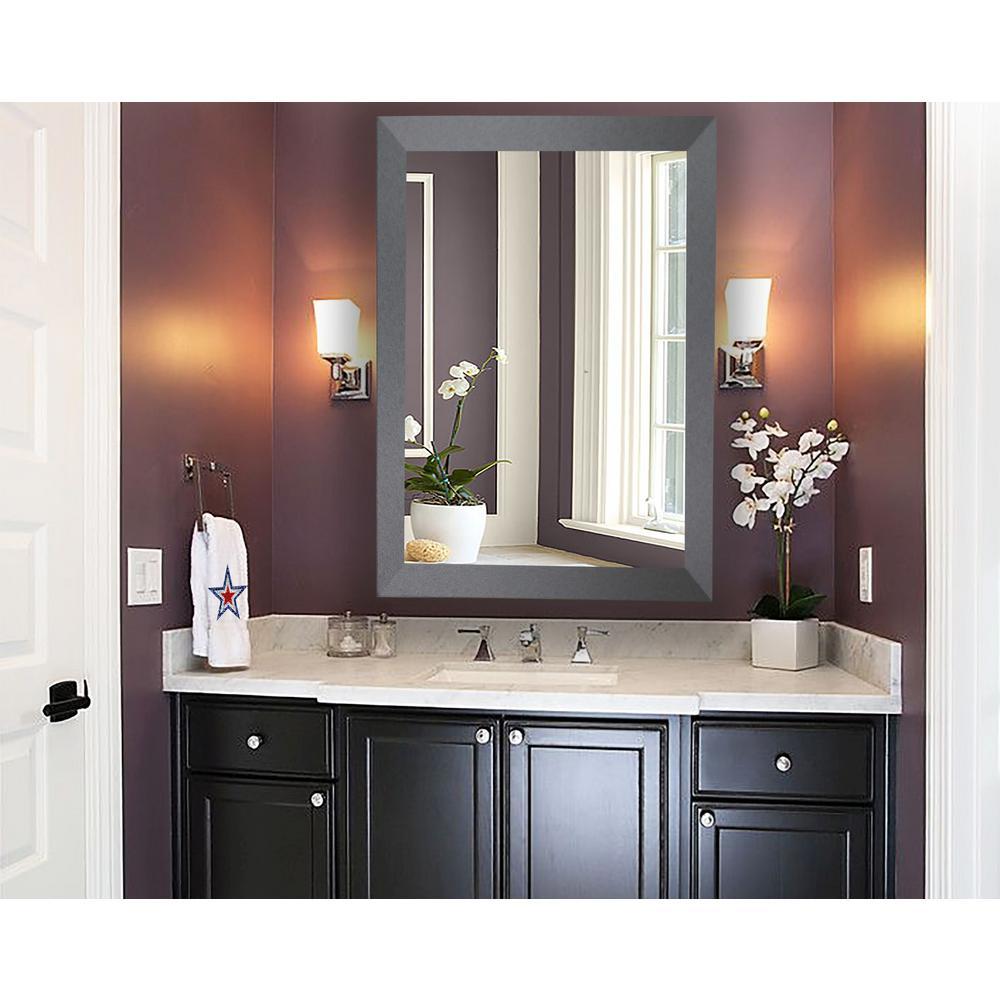 36 in. x 30 in. Shadowy Tungsten Smokestack Framed Non-Beveled Vanity Wall Mirror