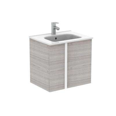 Onix 24 in. W x 18 in. D Bath Vanity with Doors in Sandy Grey with Ceramic Vanity Top in White