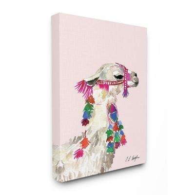 "30 in. x 40 in. ""Pink Llama Decorated with Tassels Watercolor"" by Elise Engh Canvas Wall Art"