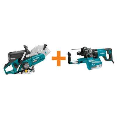 14 in. 76 cc 4-Stroke Engine Gas Saw with Bonus 1 in. AVT Rotary Hammer, SDS-Plus Bits with HEPA Dust Extractor