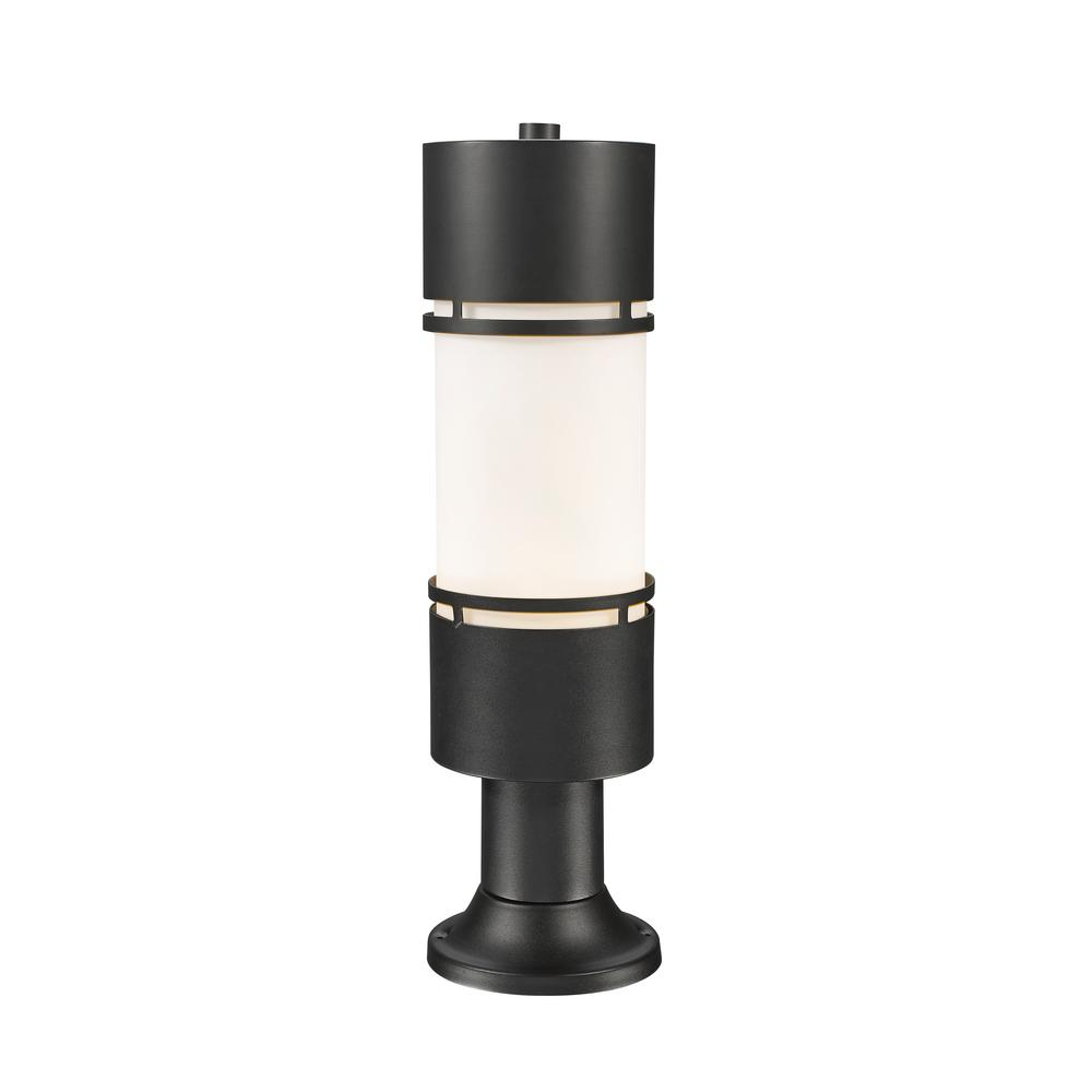 Seija 75-Watt Equivalent Outdoor Black Integrated LED Post Light with Matte