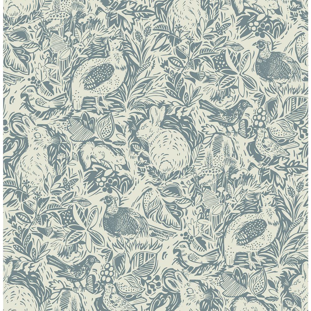 Revival Blue Fauna Wallpaper