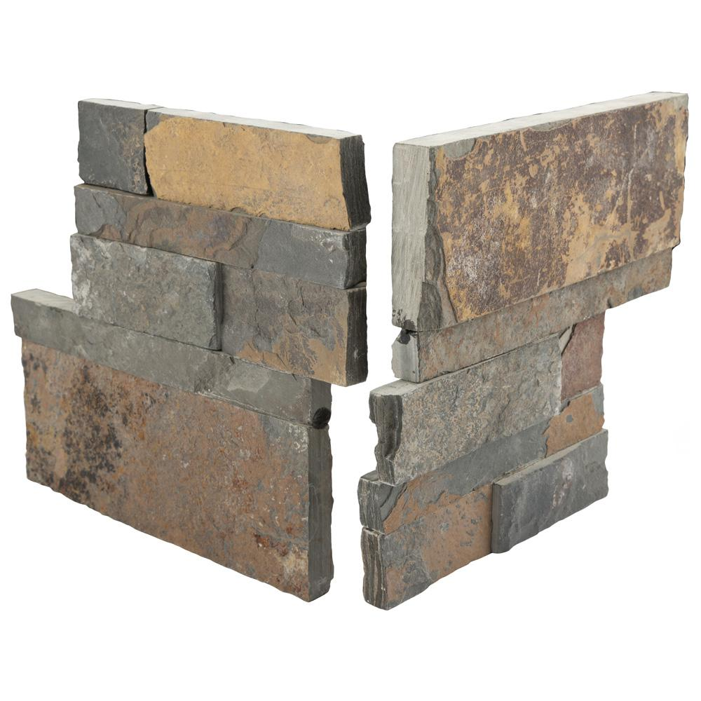 Merola Tile Ledger Panel Rusty Slate Corner 7 in  x 7 in  Natural Stone  Wall Tile