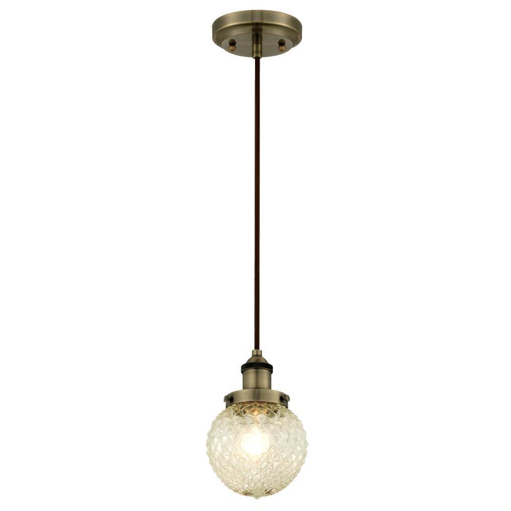 1-Light Antique Brass Mini Pendant