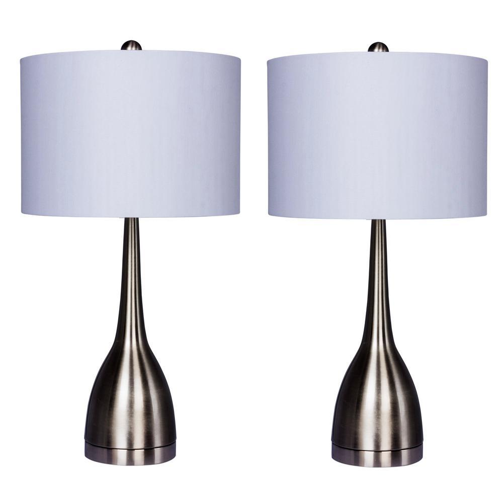25 in. Brushed Steel Elongated Genie Bottle Metal Table Lamps