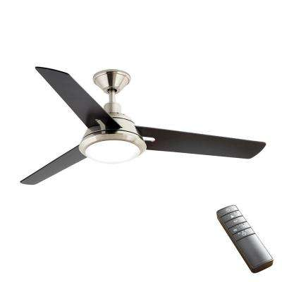 Gardinier 52 in. LED Indoor Brushed Nickel WINK Enabled Smart Ceiling Fan with Integrated Light Kit with Remote Control