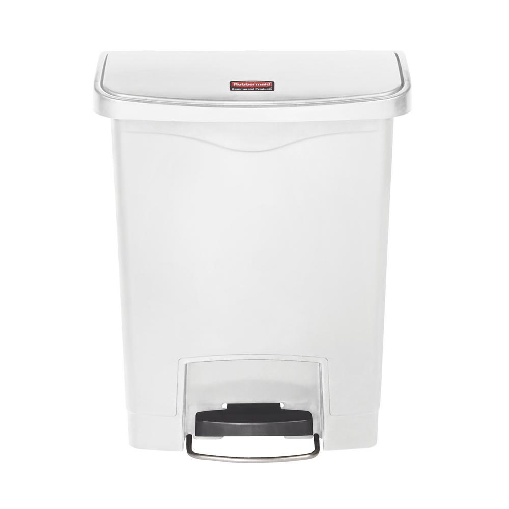 Rubbermaid Commercial Products Slim Jim Step On 8 Gal White Plastic Front Trash