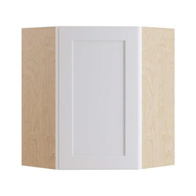 Newport Assembled 24x30x12 in. Plywood Shaker Wall Angle Corner Kitchen Cabinet Soft Close Left in Painted Pacific White