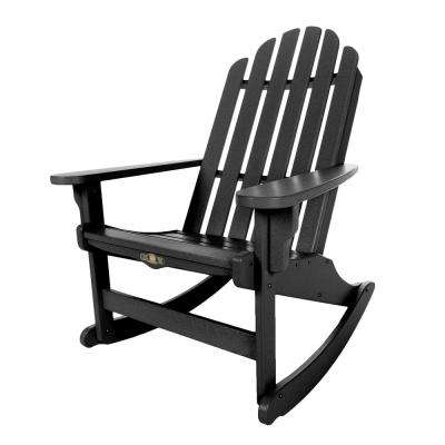 DuraWood Essentials Adirondack Patio Rocker in Black