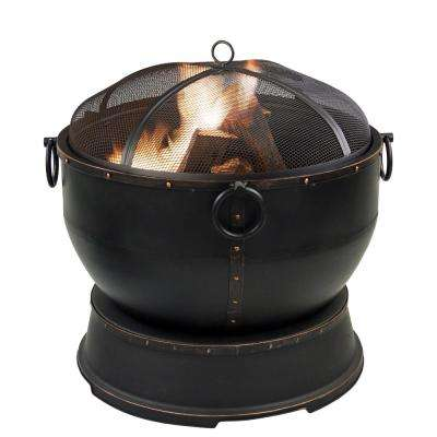 Athena 28 in. x 27 in. Round Urn Style Steel Wood Fire Pit in Rubbed Bronze