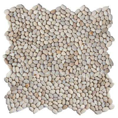 Micro Pebble Playa Beige 12 in. x 12 in. x 6.35 mm Mesh-Mounted Mosaic Floor and Wall Tile (10 sq. ft. / case)