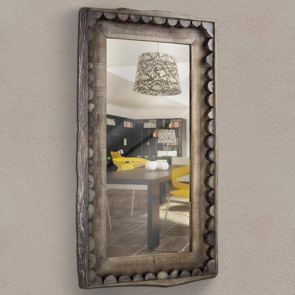Scalloped Wood Rectangular Wall Mirror