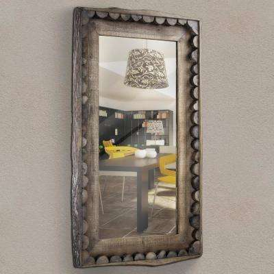 Scalloped Wood Rectangular Wall Mirror
