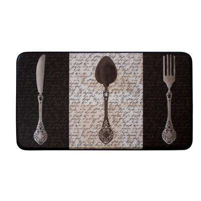 Chef Gear French Utensils 24 in. x 36 in. PVC Printed Anti-Fatigue Kitchen Mat